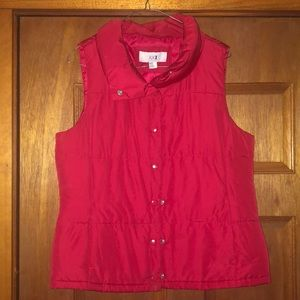 Red puffy vest forever 21